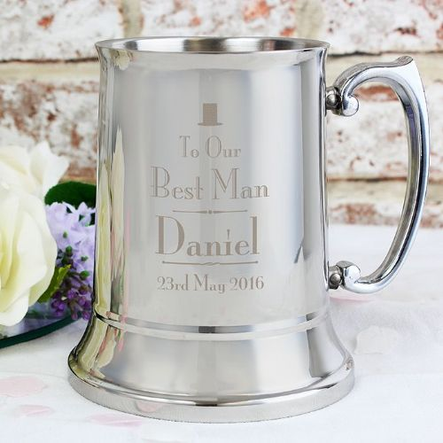 Decorative Wedding Best Man Stainless Steel Tankard